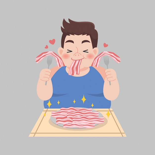 Uomo in sovrappeso piace mangiare illustrazione dieta dimagrante alimenti chetogeni