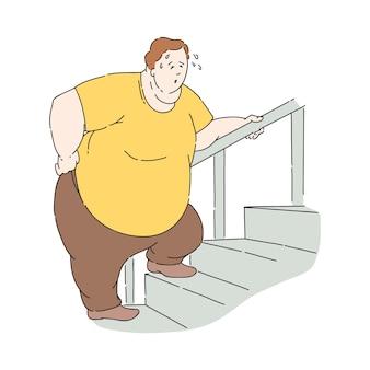 Uomo obeso in sovrappeso che suda mentre va al piano di sopra