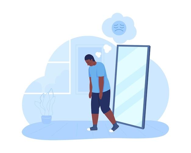 L'adolescente triste di peso eccessivo 2d ha isolato l'illustrazione. problema di salute mentale.