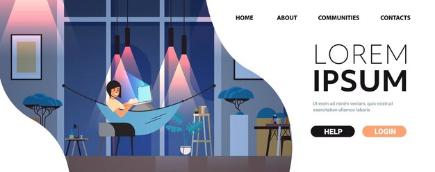 Oberato di lavoro imprenditrice freelance guardando lo schermo del computer ragazza sdraiata in amaca notte oscura home room interno orizzontale a piena lunghezza spazio copia