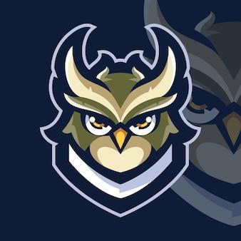 Logo di gioco esport uccello gufo