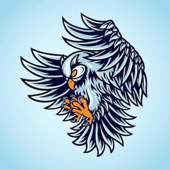 Illustrazione dell'uccello del gufo