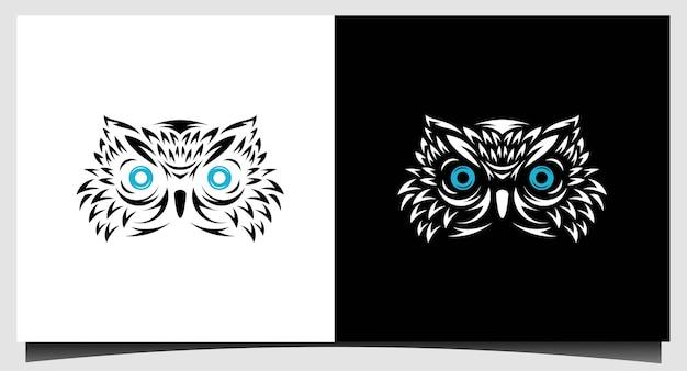 Modello di progettazione del logo dell'uccello del gufo