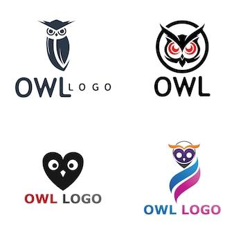 Gufo uccello logo e simbolo animale vettore