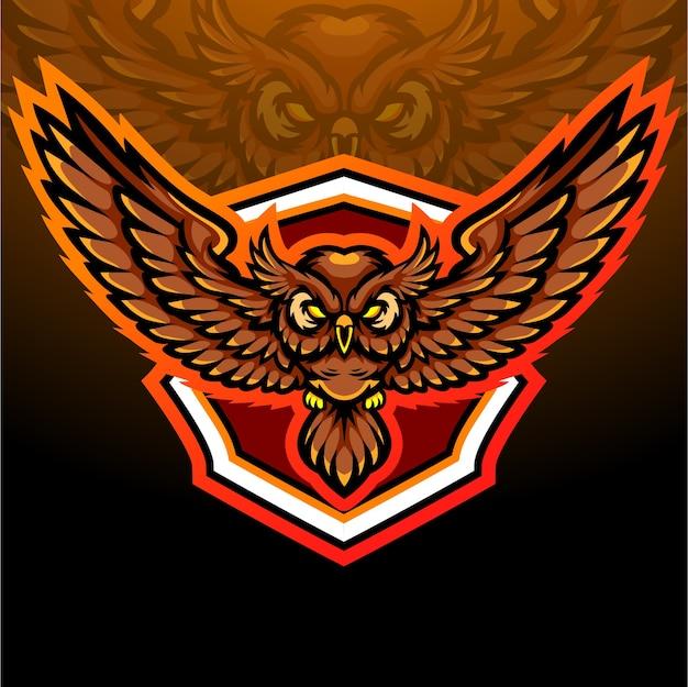 Mascotte dell'uccello del gufo. design del logo esport