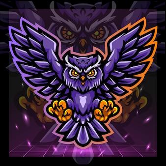 Mascotte dell'uccello del gufoesport logo design