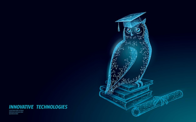 Simbolo dell'uccello del gufo della saggia educazione. concetto di distanza di e-learning.
