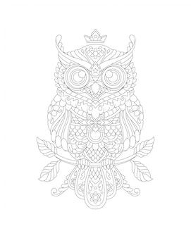 Illustrazione del libro della pagina di coloritura del gufo