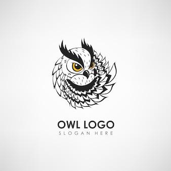 Modello di logo del concetto di gufo