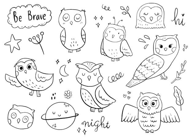 Disegno di assieme dell'autoadesivo di doodle del gufo. uccello sveglio nell'illustrazione bianca della priorità bassa