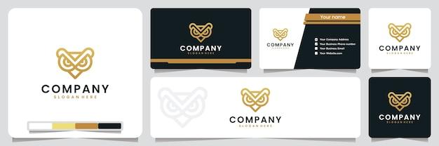 Gufo, elegante, lusso, colore dorato, ispirazione per il design del logo Vettore Premium