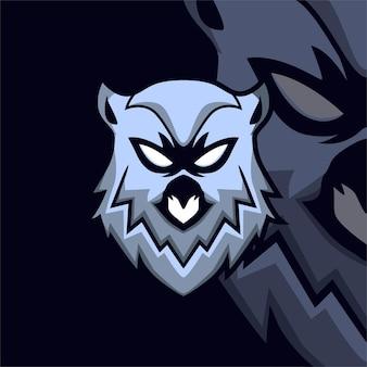 Logo della mascotte del gioco esport del gufo