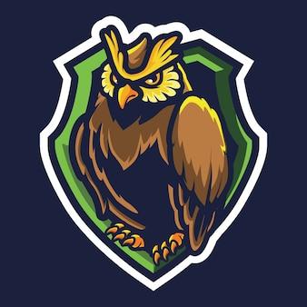 Gufo esport logo illustrazione