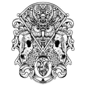 Gufo malvagio con teschi wold mano disegno illustrazione grafica combinazione illustrazione in bianco e nero