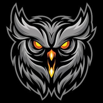 Owl face esport logo illustrazione