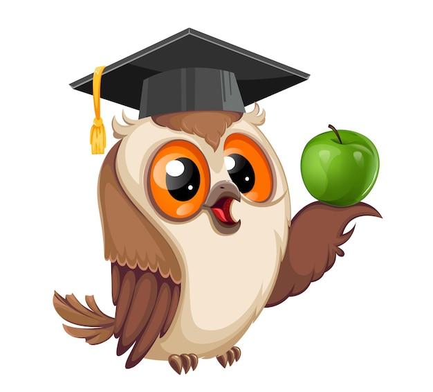 Gufo in berretto da laurea con mela verde ritorno a scuola personaggio dei cartoni animati del gufo saggio