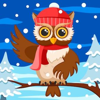 Il gufo con cappello e sciarpa si siede su un ramo e agita l'ala. sfondo di natale