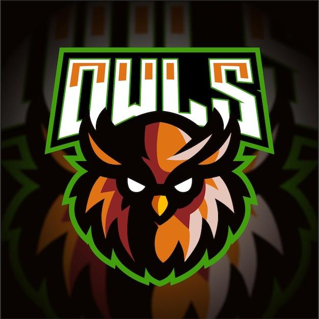 Logo di gioco esport testa di gufo