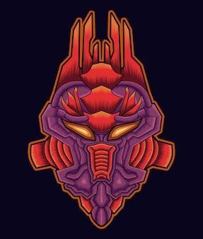 Illustrazione di arte della mascotte della testa del gufo