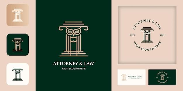 Disegno e biglietto da visita del logo del palo della legge del gufo