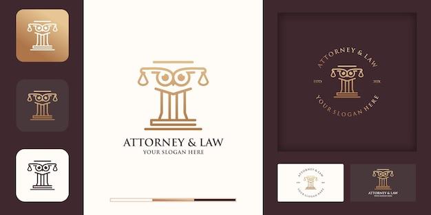 Il design del logo del palo della legge del gufo utilizza il concetto di linea e il biglietto da visita