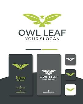 Gufo foglia logo design testa verde natura per il salvataggio degli animali e zon