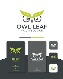 Testa di design del logo della foglia di gufo verde natura per il salvataggio degli animali e lo zoo