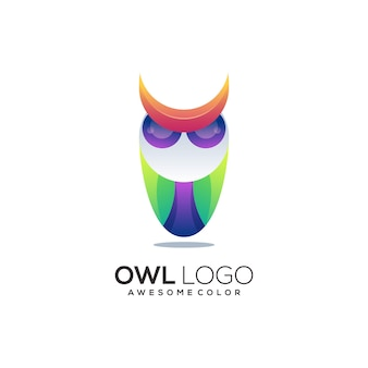 Illustrazione del logo del gufo astratto colorato