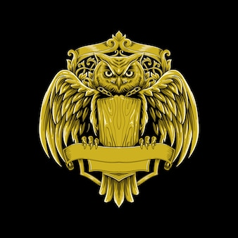 Illustrazione di vettore di lusso logo vintage gufo Vettore Premium