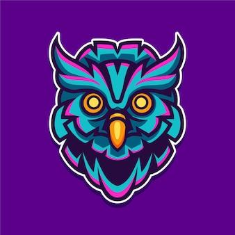 Illustrazione di progettazione di logo del carattere della mascotte del gufo