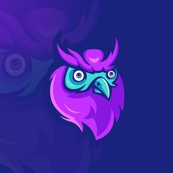 Vettore dell'illustrazione di progettazione di logo della mascotte del gufo