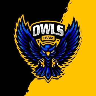 Gufo mascotte logo esport gaming