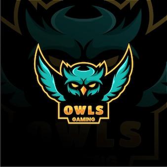 Logo della mascotte del gufo esport logo team immagini stock