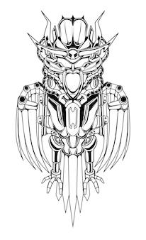 Schizzo dell'illustrazione del robot del gufo