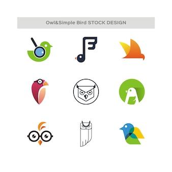 Gufo e semplice uccello stock design