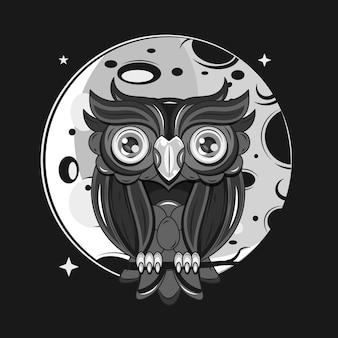 Gufo si siede su un ramo di albero di notte sotto la luna