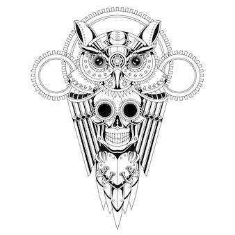 Illustrazione in bianco e nero di steampunk del cranio del gufo
