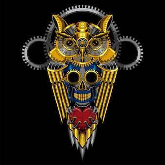 Illustrazione steampunk del cranio del gufo