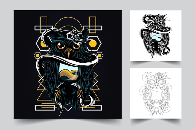 Illustrazione di opere d'arte di gufo e serpente