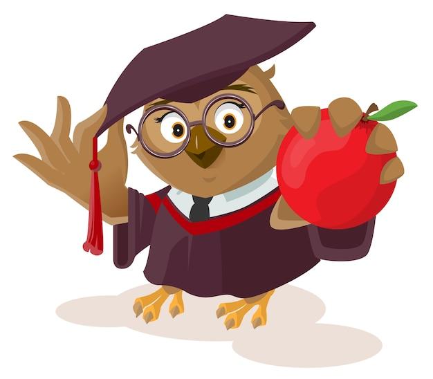 Insegnante del gufo che tiene mela rossa isolata su bianco
