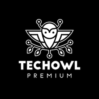 Owl tech line art logo bianco