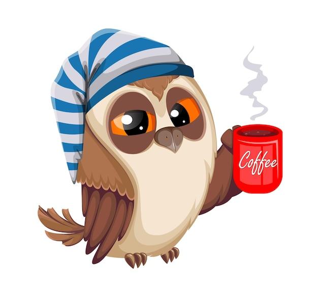 Gufo con una tazza di caffè torna a scuola concetto gufo saggio simpatico personaggio dei cartoni animati