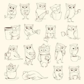 Gufi con tazza. caratteri di uccelli di concetto di sonno che si siedono sulle illustrazioni di vettore delle tazze di caffè. disegno del sonno del gufo dell'uccello, emozione della linea dell'umorismo di doodle