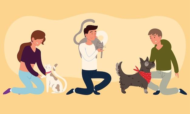 Proprietari con i loro animali domestici