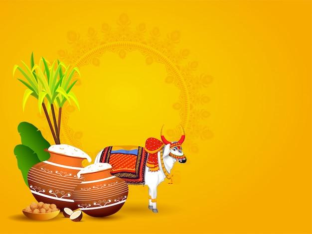Personaggio ox con pentola di fango piena di riso pongali, foglie di banana, canna da zucchero e dolce indiano (laddu) su giallo con copyspace
