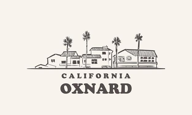 Schizzo disegnato di oxnard skyline california