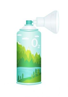 Bombola di ossigeno con ossigeno di montagna puro compresso per respirare.