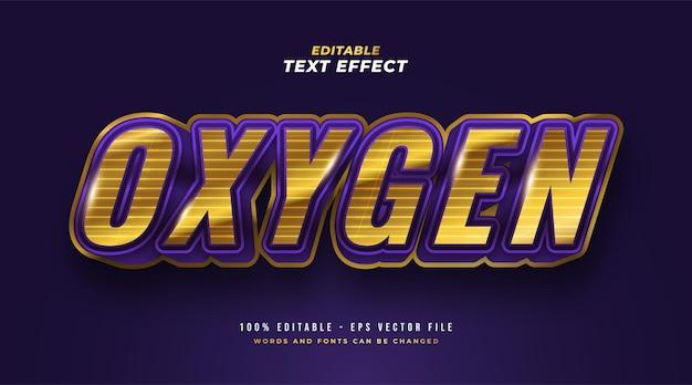 Testo dell'ossigeno in oro e viola con effetto rilievo 3d. effetto stile testo modificabile