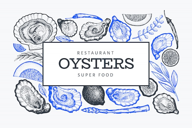 Modello di sfondo di ostriche e spezie