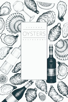 Ostriche e vino. illustrazione disegnata a mano frutti di mare